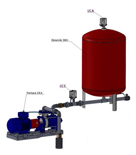 zabezpieczenie przed suchobiegiem LCS Hydro Vacuum schemat instalacji