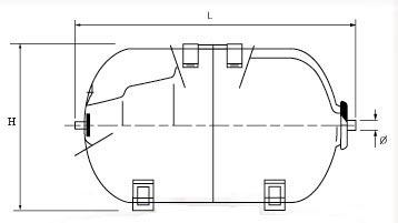 przekrój zbiornika poziomego Aquasystem, Aquapress